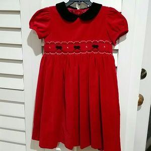 Red Velvet Smocked Dress